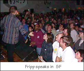Fripp speaks to the audience